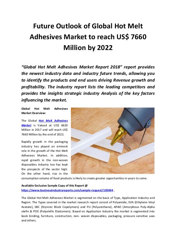 Market Research Reports Hot Melt Adhesives Market 2018 - 2022