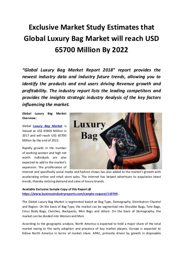Luxury Bag Market 2018 - 2022