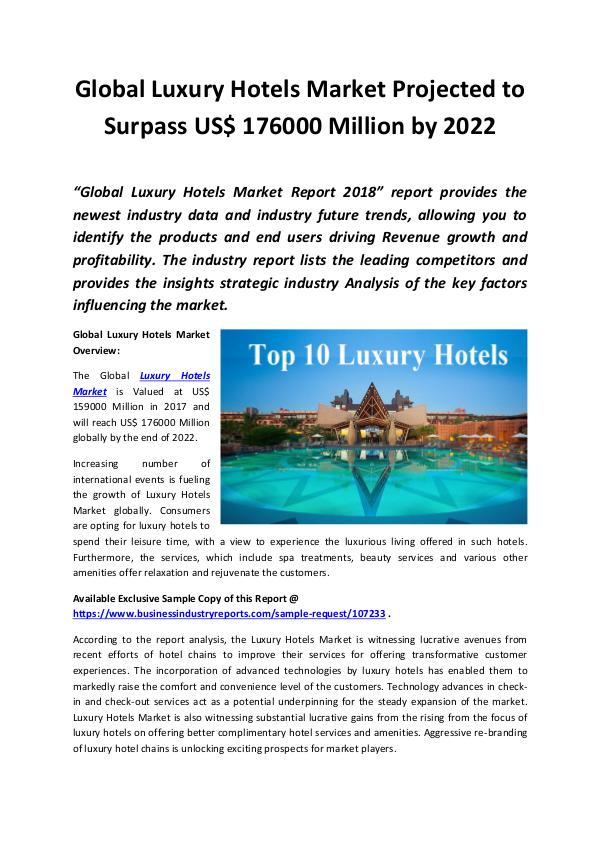 Market Research Reports Luxury Hotels Market 2018 - 2022