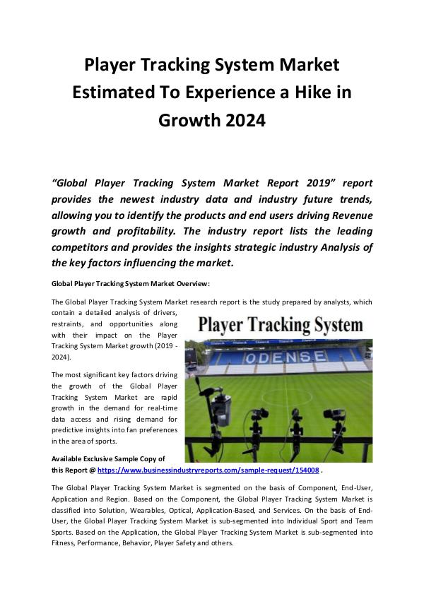 Global Player Tracking System Market to Witness Ro