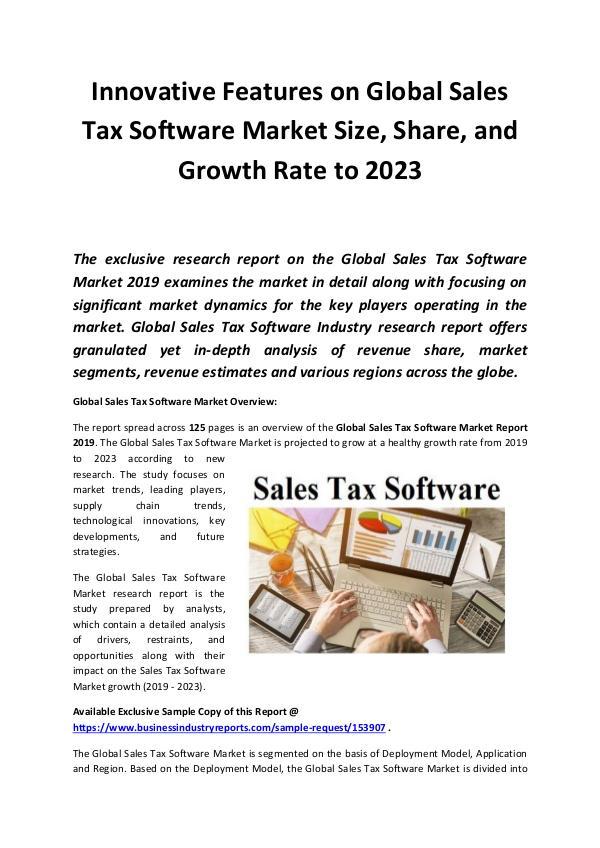 Global Sales Tax Software Market 2019