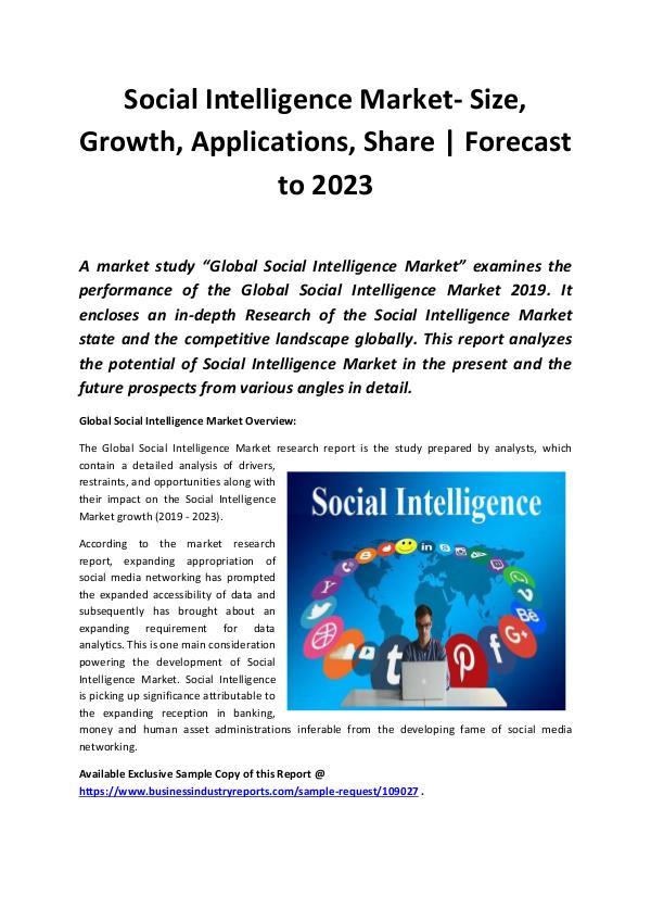 Social Intelligence Market Size, Share, Developmen