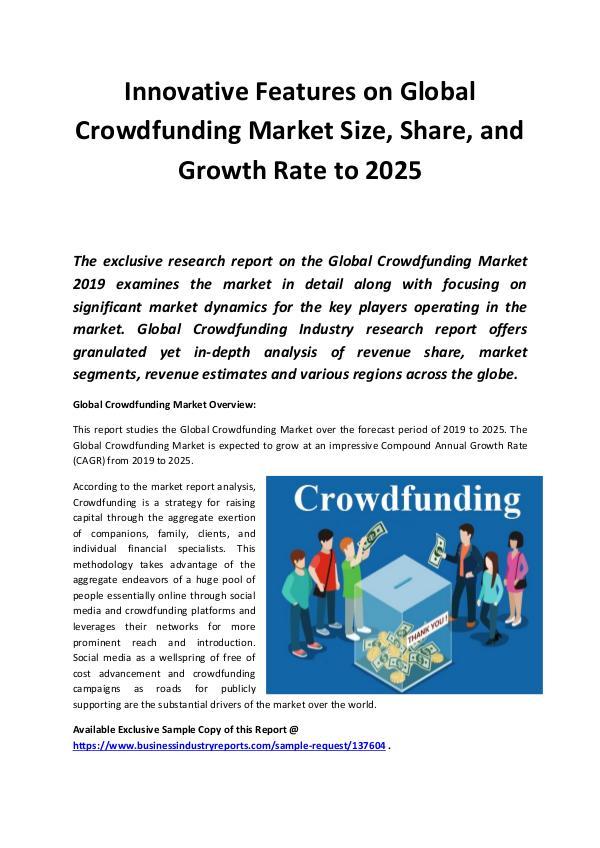 Global Crowdfunding Market 2019