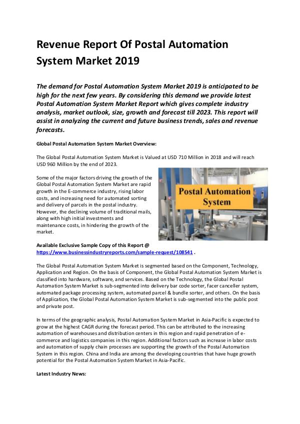 Global Postal Automation System Market Report 2019
