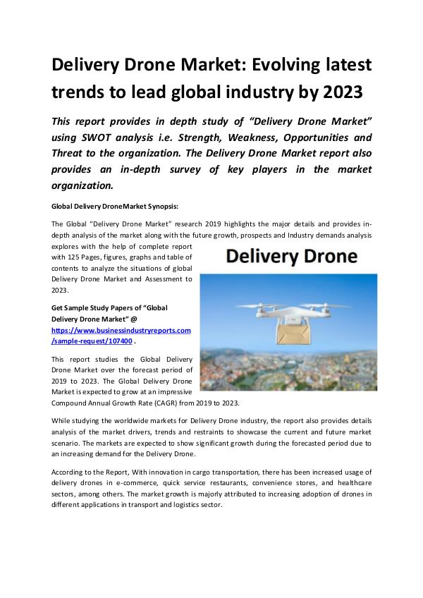 Global Delivery Drone Market to Witness Robust Exp