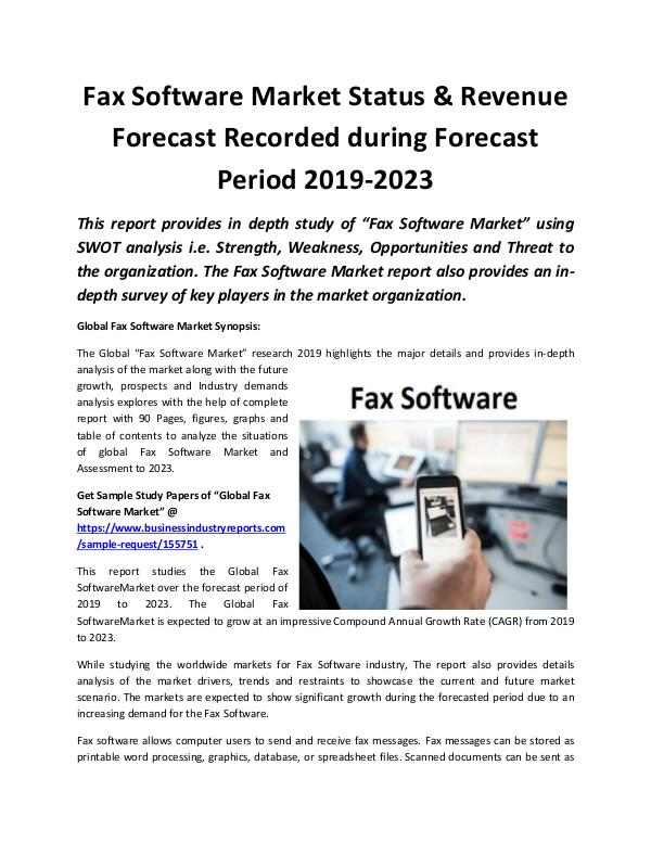 Global Fax Software Market Revenue Growth Predicte