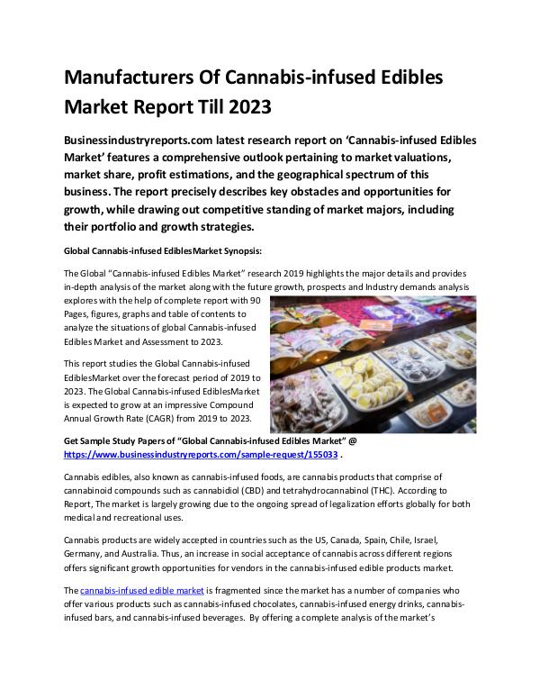 Global Cannabis-infused Edibles Market Report 2019