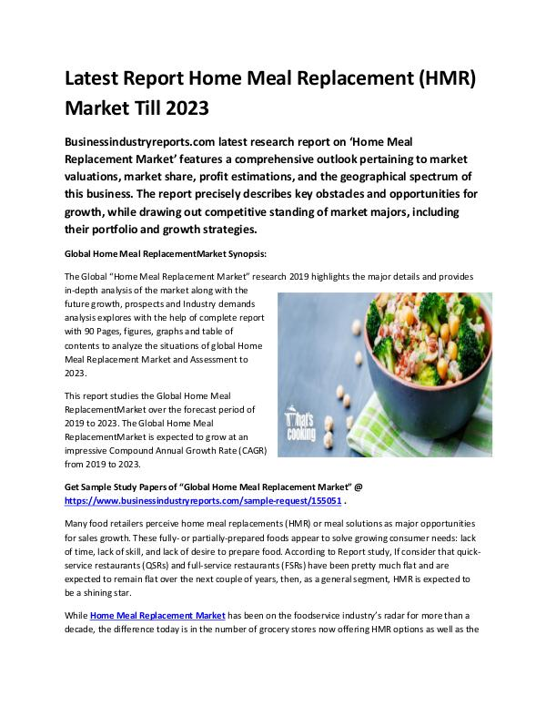 Global Home Meal Replacement (HMR) Market Report 2