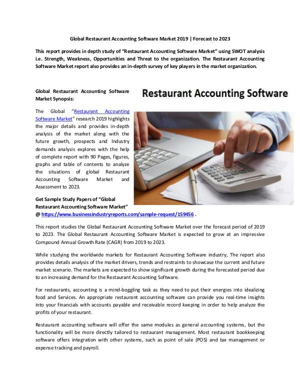 Market Research Reports Global Restaurant Accounting Software Market Repor