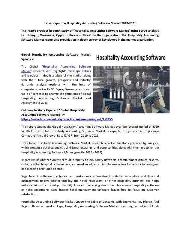 Global Hospitality Accounting Software Market Repo