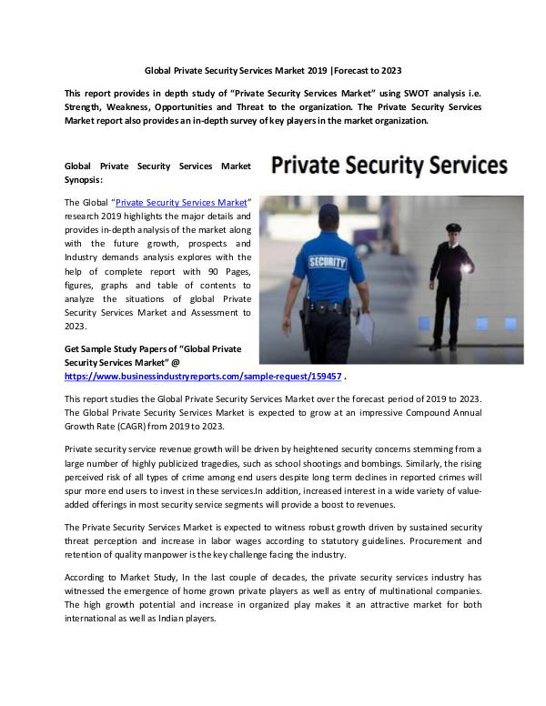 Global Private Security Services Market Report 201