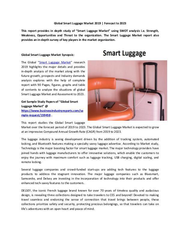 Global Smart Luggage Market Report 2019