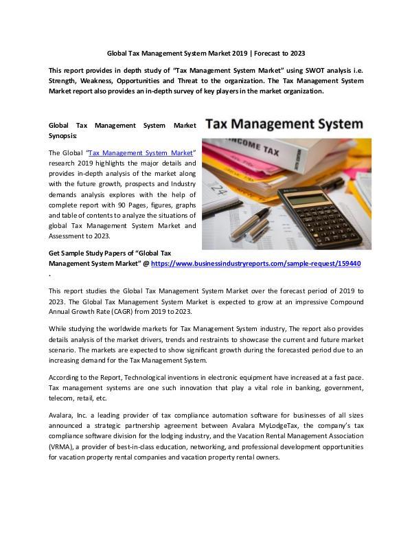 Global Tax Management System Market Report 2019