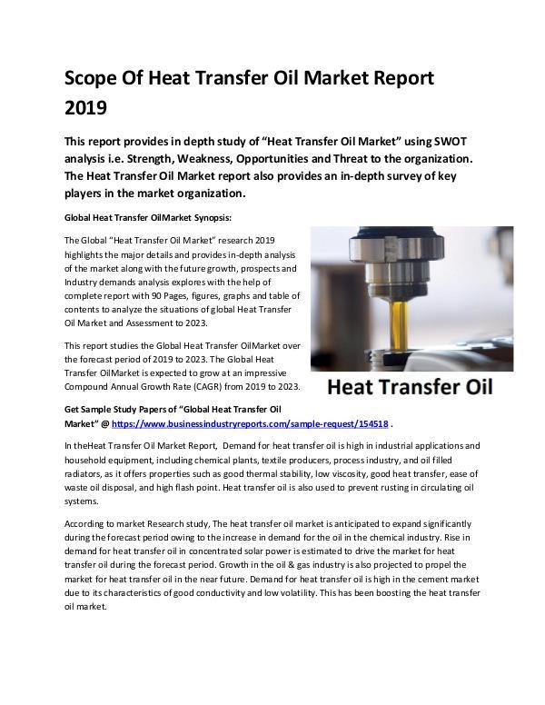 Global Heat Transfer Oil Market Report 2019-conver