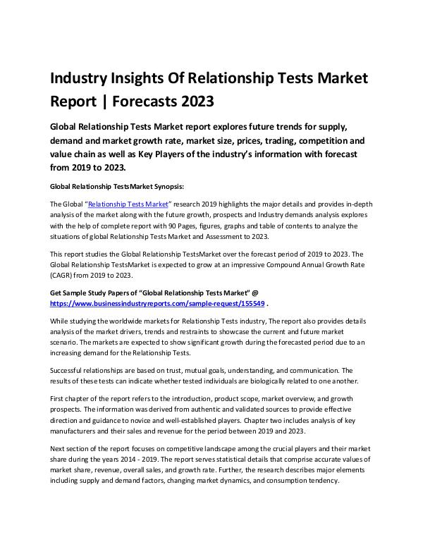 Industry Insights Of Relationship Tests Market Rep