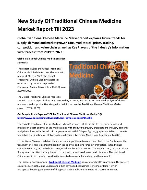 Global Traditional Chinese Medicine Market Report
