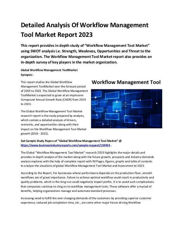 Global Workflow Management Tool Market Report 2019