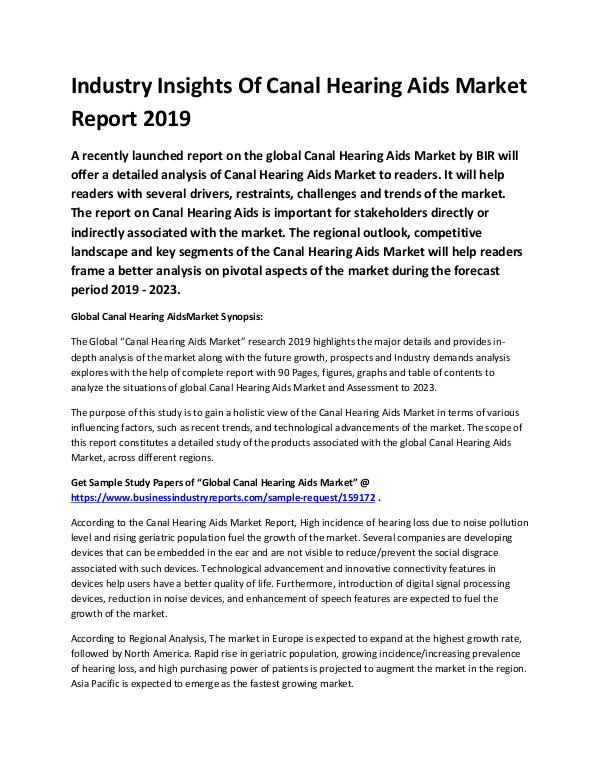Global Canal Hearing Aids Market Report 2019-conve