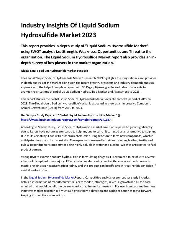 Global Liquid Sodium Hydrosulfide Market Report 20