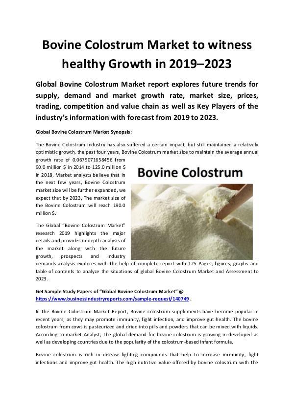 Global Bovine Colostrum Market 2019