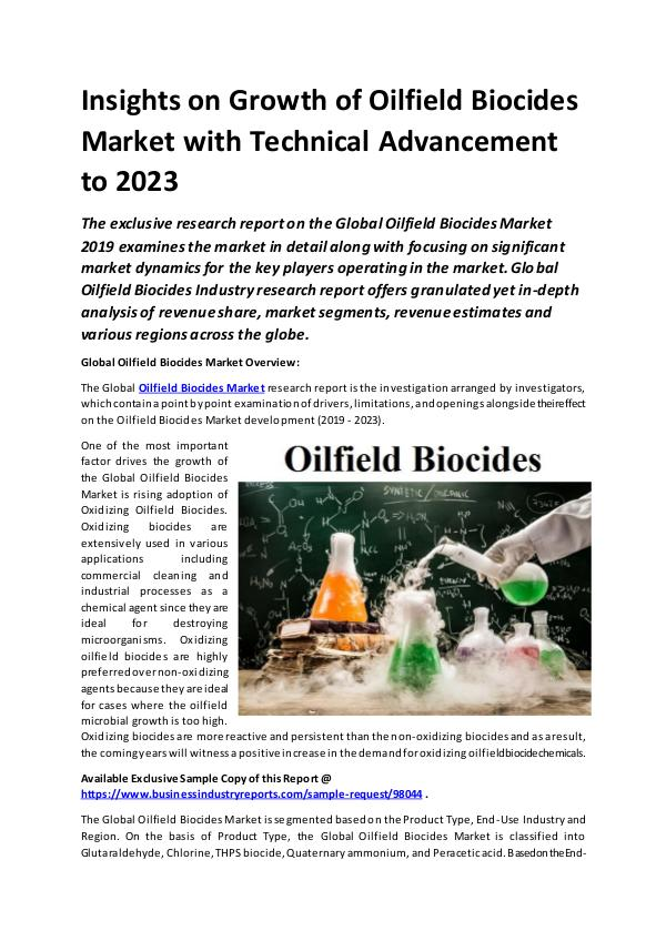 Global Oilfield Biocides Market Report 2019