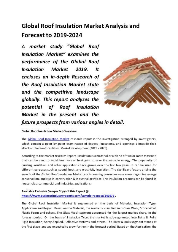 Global Roof Insulation Market Analysis 2013-2018 a