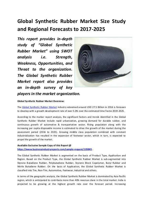 Market Research Reports Global Synthetic Rubber Market Size Study, by Type