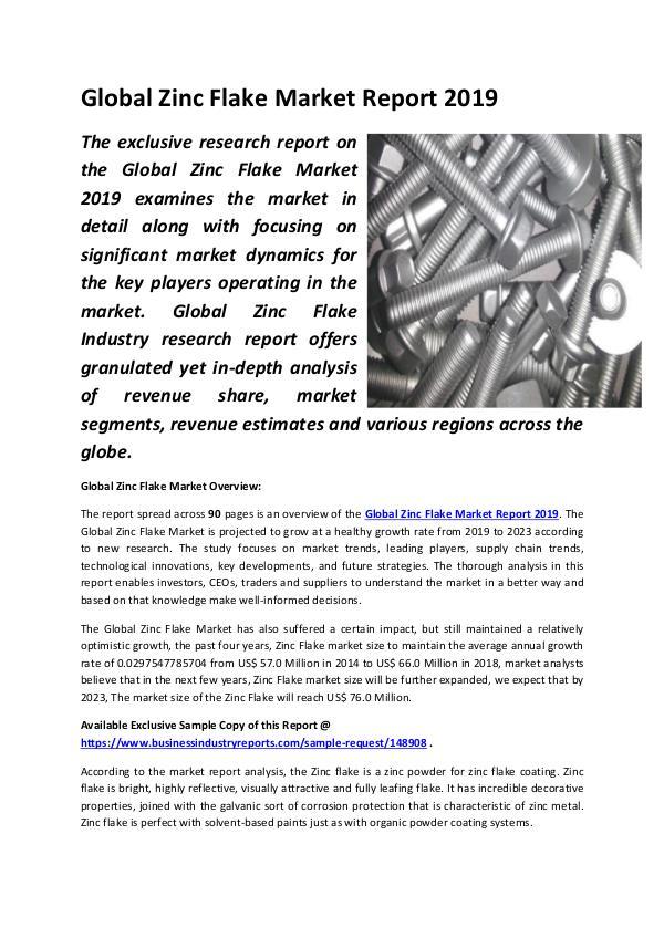 Global Zinc Flake Market Report 2019