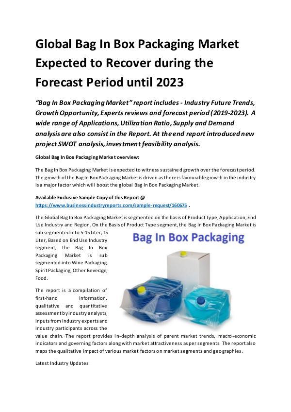 Global Bag In Box Packaging Market Report 2019