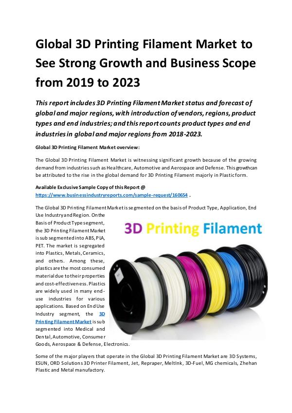 Global 3D Printing Filament Market Report 2019