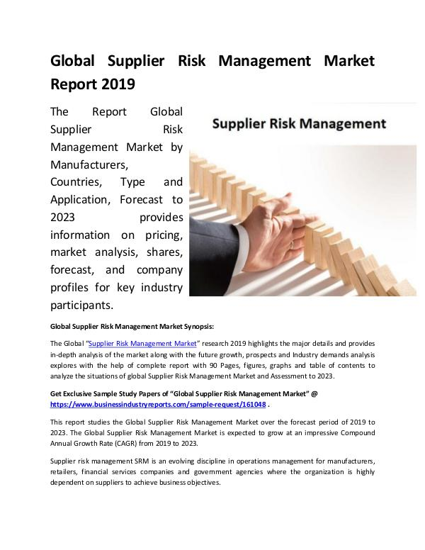 Market Research Reports Global Supplier Risk Management Market Report 2019