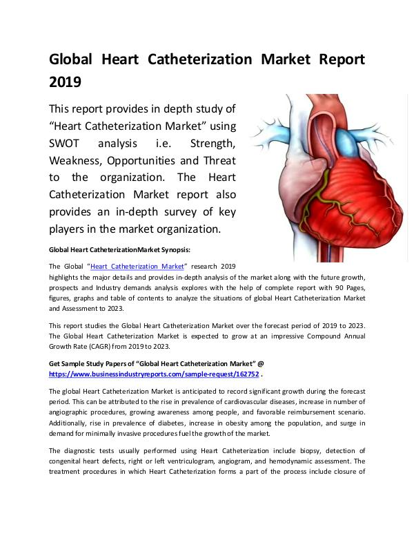 Global Heart Catheterization Market Report 2019