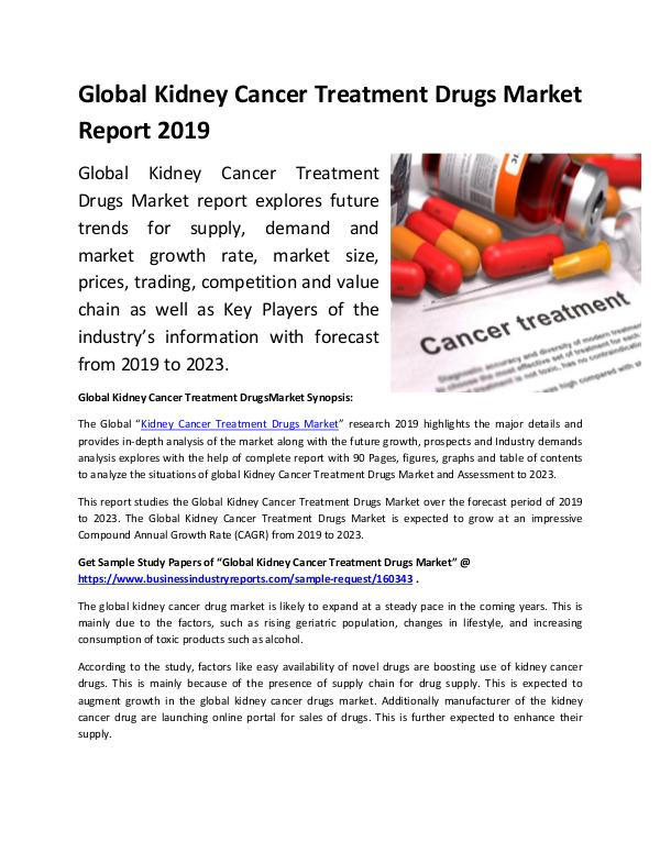 Global Kidney Cancer Treatment Drugs Market Report