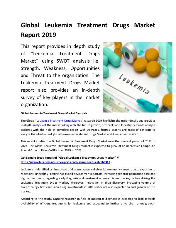 Global Leukemia Treatment Drugs Market Report 2019