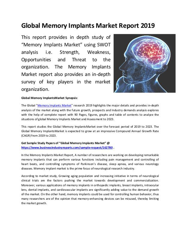 Global Memory Implants Market Report 2019