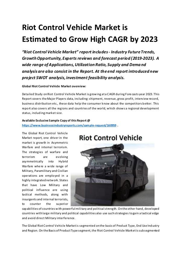 Global Riot Control Vehicle Market Report 2019