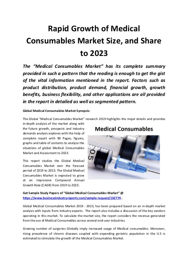 Global Medical Consumables Market 2019
