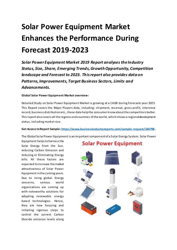 Global Solar Power Equipment Market Report 2019
