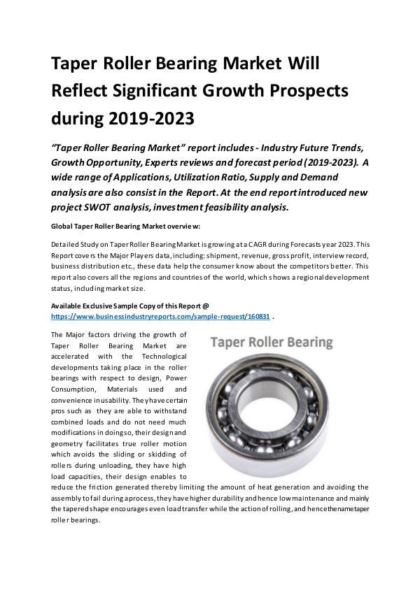 Global Taper Roller Bearing Market Report 2019