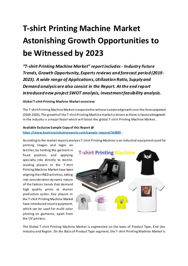 Global T-shirt Printing Machine Market Report 2019
