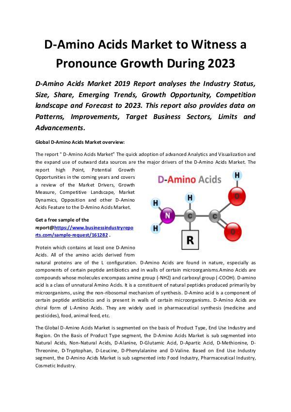 Market Research Reports Global D- Amino Acid Market 2019