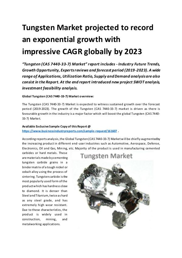 Global Tungsten (CAS 7440-33-7) Market Report 2019