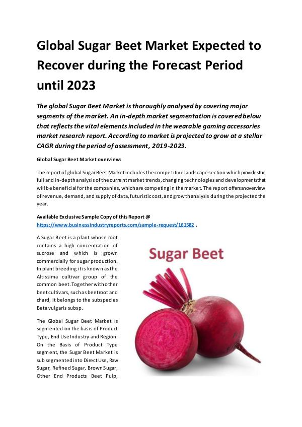 Global Sugar Beet Market Report 2019