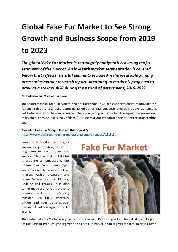 Global Fake Fur Market Report 2019
