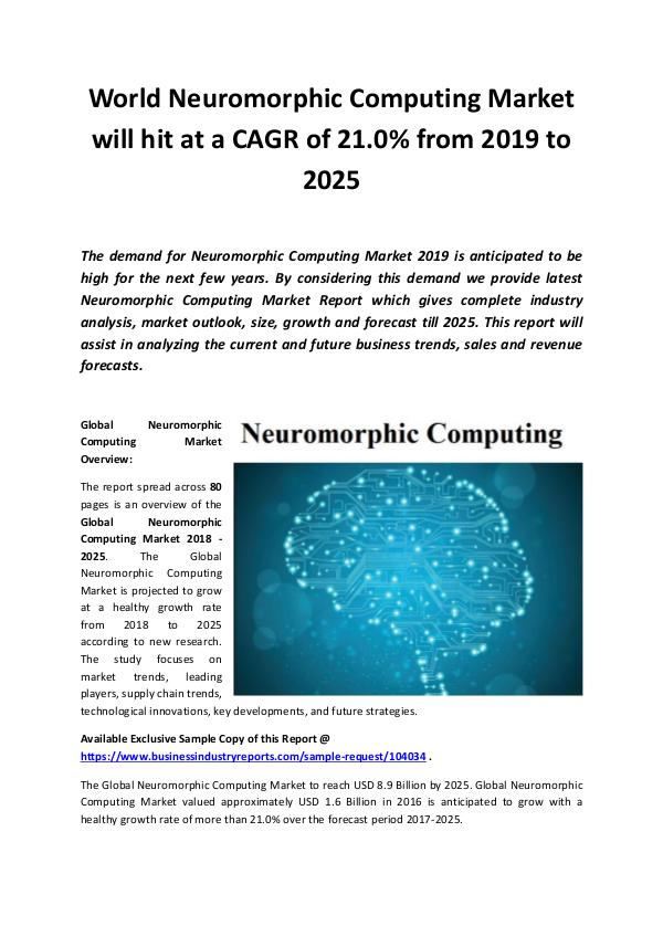 Market Research Reports Global Neuromorphic Computing Market 2019