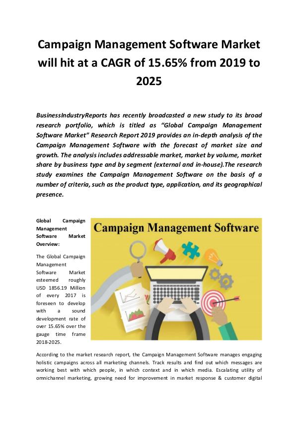 Market Research Reports Global Campaign Management Software Market 2019