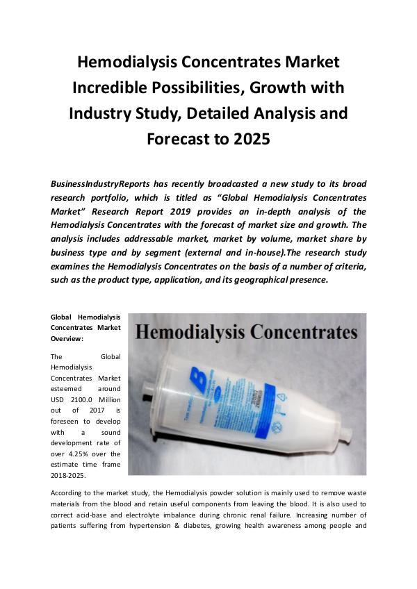 Global Hemodialysis Concentrates Market 2019
