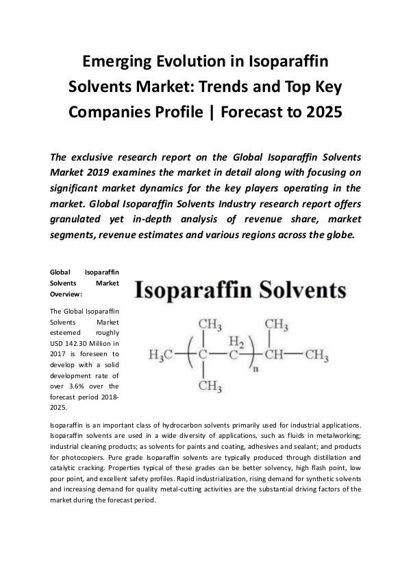 Global Isoparaffin Solvents Market 2019