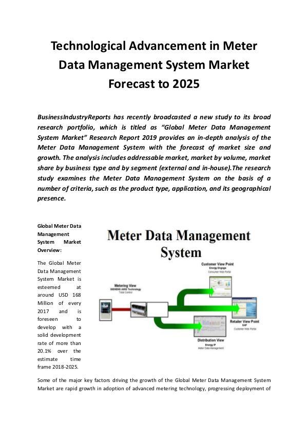 Global Meter Data Management System Market 2019