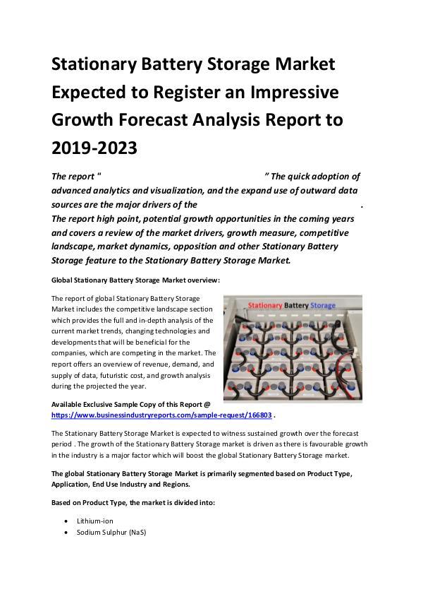 Global Stationary Battery Storage Market Report 20